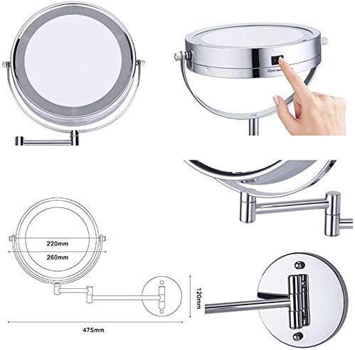 Specchio da barba da bagno Montaggio a parete da 8,5 pollici Specchio per il trucco da 8,5 pollici con luci a LED e 5x ingrandimento Specchio per vanit/à 360 /° Rotazione gratuita a 360 /° Braccio anteri