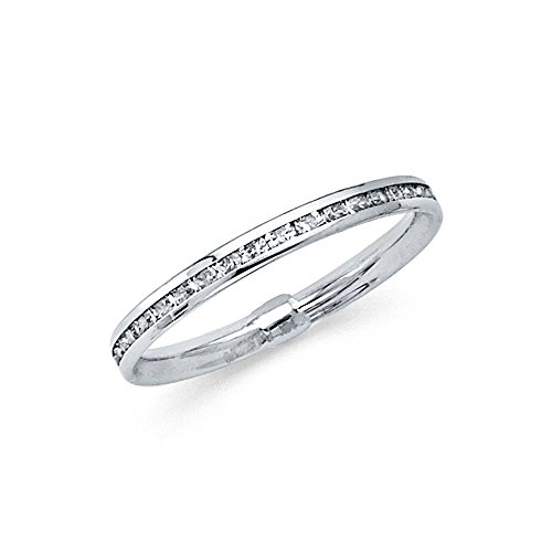 14k Solid White Gold Eternity Band Stackable Ring Channel Set Endless Wedding Band 2.4 MM Size 7 (Set Band Channel Eternity)