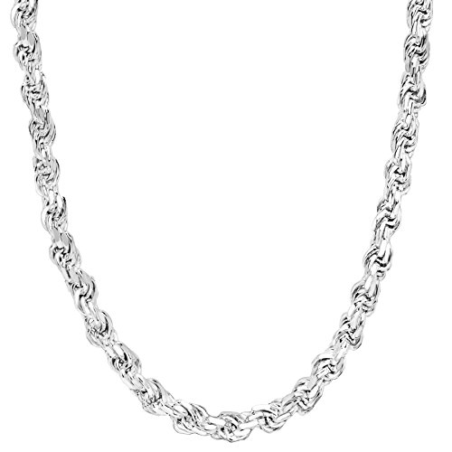 Honolulu Jewelry Company Sterling Silver 3.5mm - 5.5mm Rope Chain Necklace or Bracelet (5mm - 24 Inches)