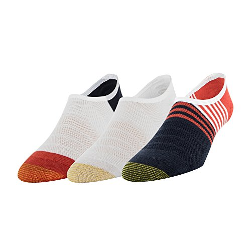 (Gold Toe Men's Sta-Cool Color Block No-Show Sneaker Socks, 3-Pack, Navy, White/red, Shoe Size: 10.5-13)