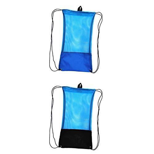 MagiDeal 2pcs Mesh Drawstring Bag Scuba Diving Snorkel Fins Goggles Mask Blue&Black by Unknown