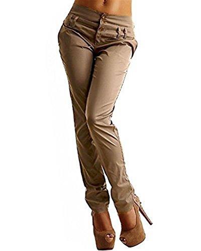 Casual Jogging Con Eleganti Haidean Khaki Libero Nahen Donna Tasche Matita Dei A Semplice Autunno Monocromo Glamorous Due Taille Tempo Pantaloni Moda Primaverile ZqZz8w