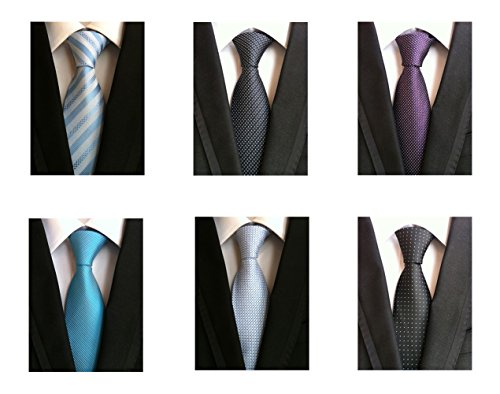 WeiShang Lot 6 PCS 4 inch Classic Men's Wide Tie Necktie Woven JACQUARD Neck Ties (Style 04)