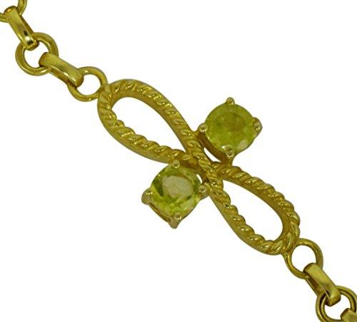 Yellow Rhodium 925 Sterling Silver Beautiful Bracelet With Genuine Green Peridot Gemstone