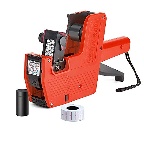 Metronic MX5500 EOS 8 Digits Price Tag Gun Labeler Red Pricemarker Labels Included Labels and Ink Refill for Office, Retail Shop, Grocery Store,Super Market