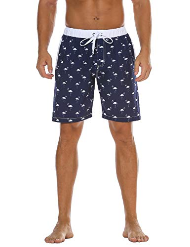 Trunks Hawaiian Lined Swim (Unitop Men's Athletic Beach Shorts Hawaiian Holiday Party Swimming Trunks Navy 34)