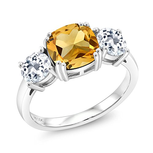 4.00 Ct Cushion Yellow Citrine White Topaz 925 Sterling Silver Meghan Ring (Available in size 5, 6, 7, 8, 9)
