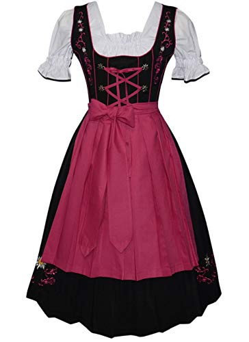 (Edelweiss Creek 3-Piece Long German Party Oktoberfest Dirndl Dress Black & Pink)
