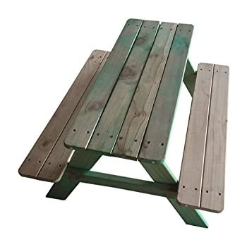 swingnplay kidu0027s wooden picnic bench in green and natural color