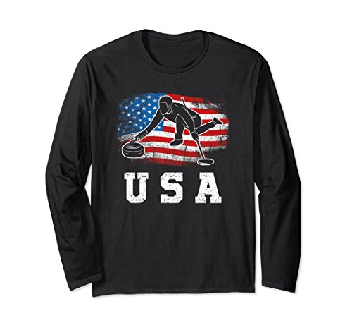 Unisex USA Curling! Passionate Curler Gift Long Sleeve Tee XL: Black from Jamrock Curling Apparel