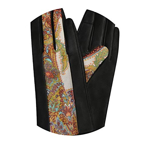 Closer-to-U Vintage Printing Gloves Genuine Leather Gloves ies Mittens Embroidery Fl Gloves,Black Touch Screen,S