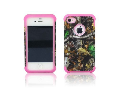 ANTI-SHOCK HYBRID 2 IN 1 MOSSY TREE OAK CAMO HUNTER iphone 5c COVER CASE PINK THICK SILICONE INSIDE AND HARD PLASTIC RUBBERIZED COVER OUTSIDE