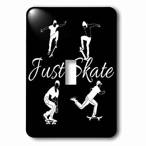 3dRose Alexis Design - Sport Skateboard - Four skateboarders in action, text Just Skate on black background - Light Switch Covers - single toggle switch (lsp_283910_1)