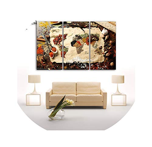 (three thousand Spices World Map Poster Wall Modular Picture Home Decor 3 Panels Unframed Painting Art Print On Canvas for Home Decor,30x60cmx3pcs)