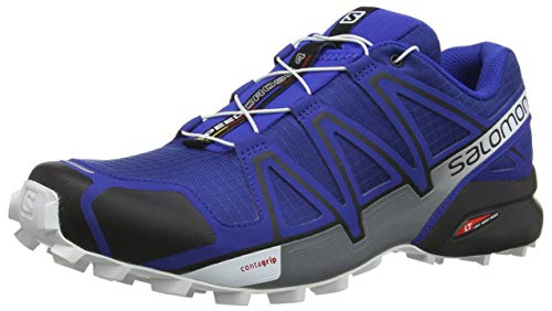 Salomon Men's Speedcross 4 Trail Running Shoe, Mazarine Blue Wild/Black/White, 10 D US