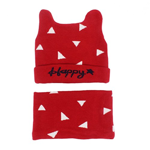 Warm Baby Boys Girls Hat Scarf Set Cute Knitted Cotton Hats(Red) - 8