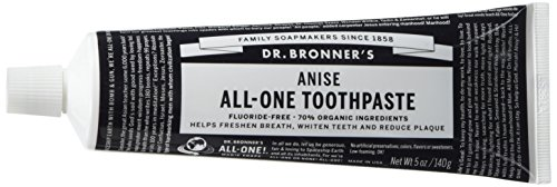 Dr. Bronner's Magic Soaps Toothpaste 1 ANISE TOOTHPASTE. Our low-foaming formula cleans your pearly whites without fear of harsh or harmful ingredients. It has no synthetic detergent foaming agents, fluoride, no artificial colors, flavors, carrageenan, or preservatives. FRESH AND CLEAN. This simple yet effective toothpaste stimulates mouth, teeth, gums and tongue, leaving them fresh and clean. Made in a 100% recyclable box and tube. ORGANIC INGREDIENTS. Dr. Bronner's offers vegan ingredients that are 70% organic. Reduce plaque and whiten teeth with clean ingredients. This formula will nourish your gums, as you keep your mouth refreshed, renewed, and clean.
