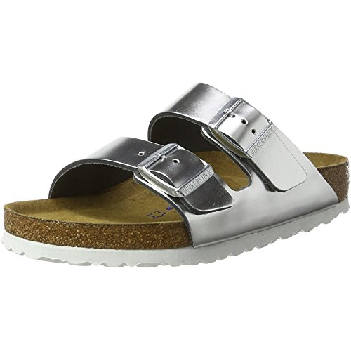 - Birkenstock Arizona Leather Sandals Silver Size 36