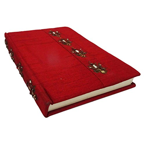 "Decorative Trinket Diary Handmade Art Silk Mdf Material Maroon Notepad Stationery Accessories Beaded Diary Gift Item 7"" x 5"""