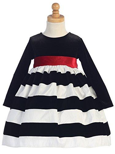 Taffeta Christmas Holiday Dress (Girls Christmas/Holiday Long Sleeve Velvet Bodice with Striped Skirt Dress (3T, White/Black))