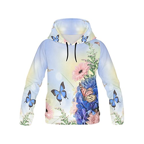 your-fantasia Custom All Over Print Hoodie Blue Hydrangeas And Butterfly Hoodie for Women (Butterfly Hydrangea)