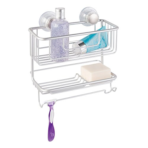 InterDesign 20970 Metro Rustproof Aluminum Turn-N-Lock Suction, Bathroom Shower Combo Basket for Shampoo/Conditioner/Soap,...