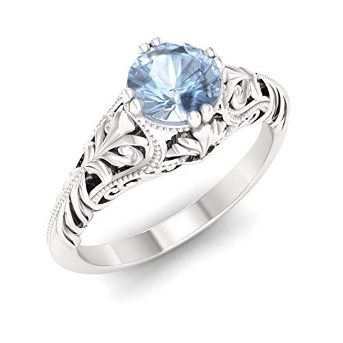 Diamondere Natural and Certified Aquamarine Engagement Ring in 14K White Gold | 0.35 Carat Victorian Vintage Style Solitaire Art Deco Ring for Women, US Size 7 ()