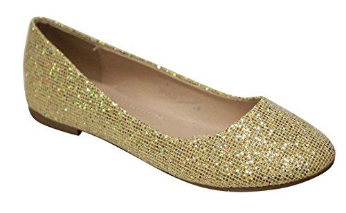 [Bella Marie Stacy-47 Women's Dress Ballet Flat Slip On Comfortable Ballerina Synthetic Glitter Sparkle Shoes Gold 8] (Sparkle Belle Shoes)