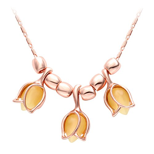 SENFAI Three Yellow Tulip Flower with Cat Eyes Opal Stone Pendant Necklace Woman Summer Flower Rose Gold Chain Necklaces (18 Inches)