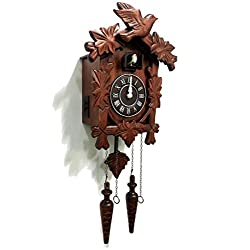 Rylai Vintage Wall Clock Handcrafted Wood Cuckoo Clock-N.DIM. 13x9.5 IN