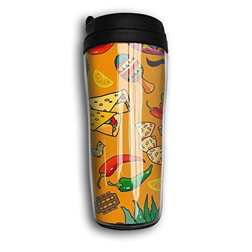 Waterhake Reusable Coffee Mug, Mexican Sombrero Taco, Iced Espresso Small Coffee Mug Reusable Plastic Curve Travel Mug for Kids Teens Adults