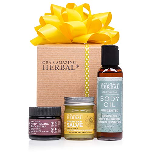 Unscented Natural Skin Care Gift Set, Fragrance-Free Moisturizer for Sensitive Skin, Eczema, Dry Skin, Travel Sizes. Touchy Skin Salve, Shea Body Butter, Body Oil, Ora's Amazing Herbal