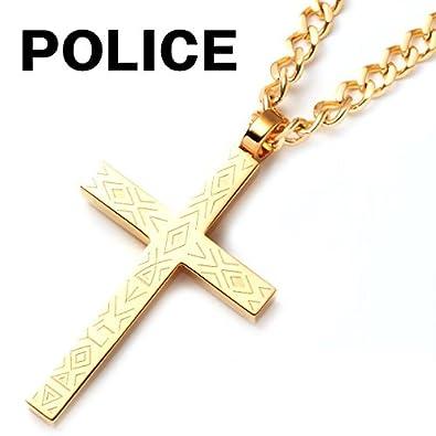 daebc1714ccb85 Amazon | ポリス POLICE ネックレス メンズ ペンダント シナ― SINNER クロス 十字架 ゴールド 25504PSG02 GOLG  | ネックレス・ペンダント 通販