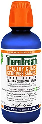 Therabreath Healthy Gums oral Rinse - Clean Mint | zinc & Tea Tree Oil To Neutralize Bacteria & Restor