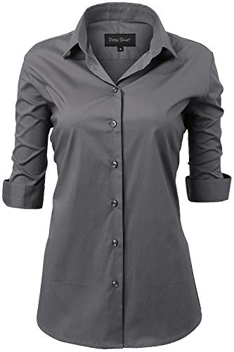 Button Down Shirts for Women Formal Work Wear Simple Gray Shirts Size 10