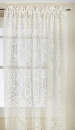 (LORRAINE HOME FASHIONS Hopewell Lace Window Curtain Panel, 58-Inch by 72-Inch, Cream)