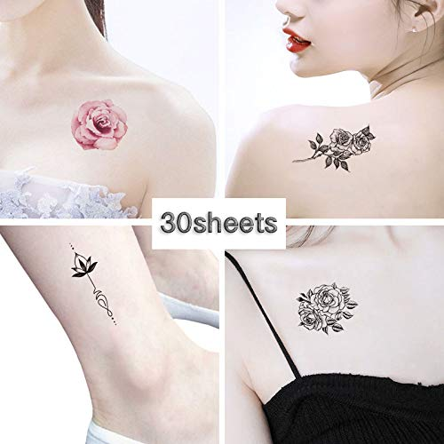 Temporary Tattoos for Women – Rose Feather Animals Written Words Flowers and Butterfly Stickers Waterproofing (style 1)