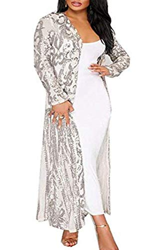 PROMLINK Women Sequin Open Front Club Party Dress Long Sleeve Cardigan Coat