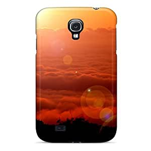 Galaxy S4 Hard Back With Bumper Silicone Gel Tpu Case Cover Golden Clouds
