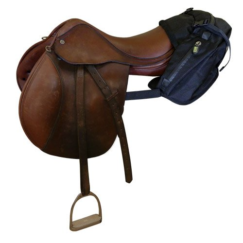- TrailMax English/Endurance Horse Saddle Bag for Trail-Riding, Featuring 3 Compartments & Quick Release Compression Straps, Black