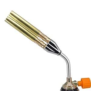 XZANTE Hierro de soldadura antorcha de pistola de gas butano de doble llama al aire libre Herramientas de cocina BBQ: Amazon.es: Bricolaje y herramientas