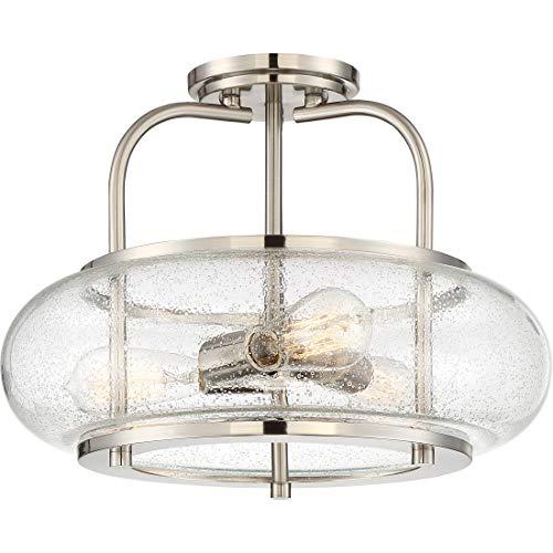 (Quoizel TRG1716BN Trilogy Glass Lantern Semi Flush Mount Ceiling Lighting, 3-Light, 300 Watts, Brushed Nickel (12