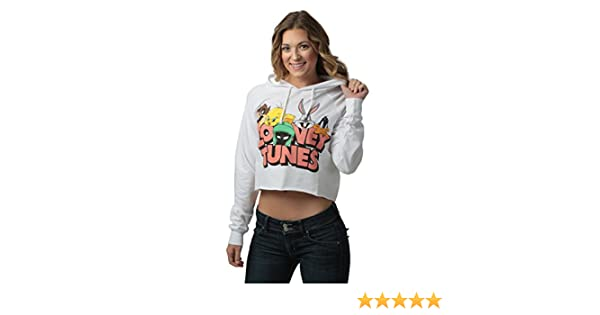 f5d00875a5da7 Amazon.com  Freeze Looney Tunes Juniors Cropped Pullover Hooded Sweatshirt  White  Clothing