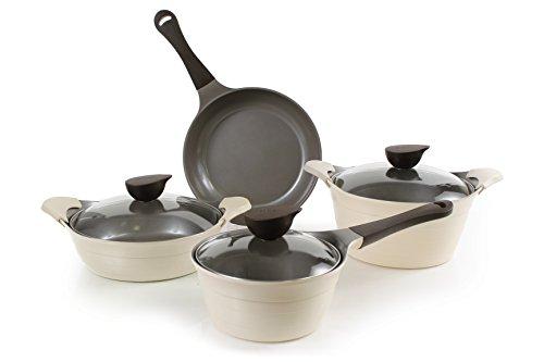 Cast Aluminum Cookware Set (Neoflam Eela 7 Piece Ceramic Nonstick Cookware Set in Ivory)