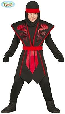 Guirca - Disfraz de ninja, para niños de 7-9 años, color negro (81252)
