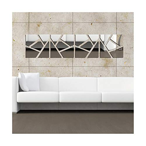 Multi-pieces=4Pcs Squares DIY 3D Acrylic Mirror Effect Wall Sticker Living Room Bedroom Mural Decals Home Decor Removable Stickers,30x120cm