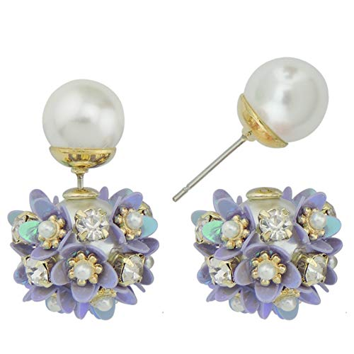 Coiris New Sweet Double Sided Simulated Pearl Flowers Ball Stud Earrings Gift 925 Silver Pin (ER1145-purple)