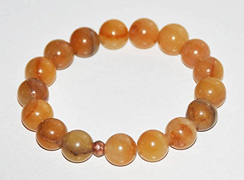 JP_Beads Aventurine Stretch Bracelet, Golden Yellow, Gemstone, Emotional Grounding, Healing, Prosperity, Success, Balance, Calming Jewelry, 10mm Bead