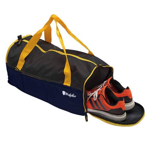 Mufubu Gym Travel Duffle Bag – 32 Litre Buddys Gym Bags for Men Stylish for Travel, Gym and Sports with Shoe Compartment (Navy Blue/Black)