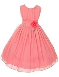 Little Girls Elegant Yoryu Wrinkled Chiffon Summer Flowers Girls Dresses